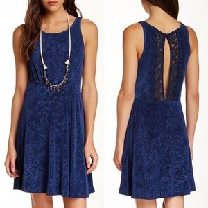 Free People Lady Jane Navy Slinky Skater Dress M